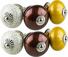 Möbelknopf Möbelknauf Möbelgriff Jay Knopf 6er-Set 6015 creme, braun, ockergelb Shabby Chic Retro Keramik Griff Kommode Schublade Vintage