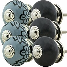 Möbelknopf Möbelknauf Möbelgriff Jay Knopf 6er-Set 6048 grau schwarz Shabby Chic Retro Keramik Griff Kommode Schublade Vintage