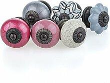 Möbelknopf Möbelknauf Möbelgriff Jay Knopf 6er-Set 6057-A grau, rosa, pink, creme Shabby Chic Retro Keramik Griff Kommode Schublade Vintage