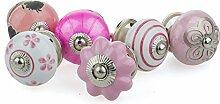 Möbelknopf Möbelknauf Möbelgriff Jay Knopf 6er-Set 6063 rosa pink Shabby Chic Retro Keramik Griff Kommode Schublade Vintage