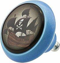 Möbelknopf Möbelknauf Möbelgriff Pirat Piratenschiff 03435B in über 2 0 verschiedenen Farben Mustern und Designs für Kinder Kinderzimmer Kindermöbel