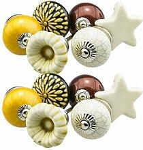 Möbelknopf Möbelknauf Möbelgriff Set 12er_12-378 braun, creme, gelb Keramik Porzellan handbemalte Vintage Möbelknöpfe für Schrank, Schublade, Kommode, Tür - Jay Knopf
