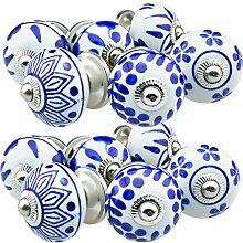 Möbelknopf Möbelknauf Möbelgriff Set 12er_12-388 blau/weiss Keramik Porzellan handbemalte Vintage Möbelknöpfe für Schrank, Schublade, Kommode, Tür - Jay Knopf