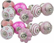 Möbelknopf Möbelknauf Möbelgriff Set 12er 12029 rosa pink Mischung Keramik Porzellan handbemalte Vintage Möbelknöpfe für Schrank, Schublade, Kommode, Tür - Jay Knopf