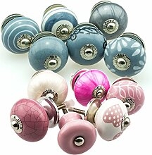 Möbelknopf Möbelknauf Möbelgriff Set 12er_360_375 rosa/grau Keramik Porzellan handbemalte Vintage Möbelknöpfe für Schrank, Schublade, Kommode, Tür - Jay Knopf