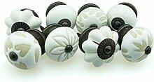 Möbelknopf Möbelknauf Möbelgriff Set 8er_8-0804 weiss etched Keramik Porzellan handbemalte Vintage Möbelknöpfe für Schrank, Schublade, Kommode, Tür - Jay Knopf