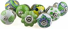 Möbelknopf Möbelknauf Möbelgriff Set 8er_8-0806 grün,gelb,blau Keramik Porzellan handbemalte Vintage Möbelknöpfe für Schrank, Schublade, Kommode, Tür - Jay Knopf