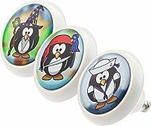 Möbelknopf Möbelknauf Möbelgriff Set ECO042 0727 3er Pinguine bunt grau rosa weiß schwarz grün rot blau Glas Optik Antik Porzellan Shabby Chic Möbelknöpfe Griffe Knäufe für Schrank Schublade Kommode Kinderzimmer