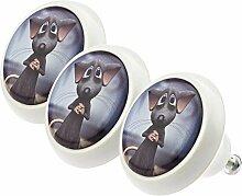 Möbelknopf Möbelknauf Möbelgriff Set ECO051 0736 3er Maus bunt grau rosa weiß schwarz grün rot blau Glas Optik Antik Porzellan Shabby Chic Möbelknöpfe Griffe Knäufe für Schrank Schublade Kommode Kinderzimmer