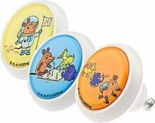 Möbelknopf Möbelknauf Möbelgriff Set ECO068 0753 3er WDR Die Maus Elefant Ente 2 bunt grau rosa weiß schwarz grün rot blau Glas Optik Antik Porzellan Shabby Chic Möbelknöpfe Griffe Knäufe für Schrank Schublade Kommode Kinderzimmer