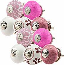 Möbelknopf Möbelknauf Möbelgriff Set JK0209 10er 745 pink weiß Keramik Porzellan handbemalte Vintage Möbelknöpfe für Schrank, Schublade, Kommode, Tür