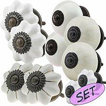 Möbelknopf Möbelknauf Möbelgriff Set JK0229 10er 764 weiß Keramik Porzellan handbemalte Vintage Möbelknöpfe für Schrank, Schublade, Kommode, Tür - Jay Knopf