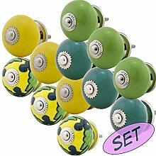 Möbelknopf Möbelknauf Möbelgriff Set JK0233 12er 734 grün gelb Keramik Porzellan handbemalte Vintage Möbelknöpfe für Schrank, Schublade, Kommode, Tür - Jay Knopf