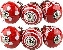 Möbelknopf Möbelknauf Möbelgriff Set Nr.0200 6er bunt schwarz weiß rosa grau rot blau grün rot gelb Keramik Porzellan handbemalte Vintage Möbelknöpfe für Schrank, Schublade, Kommode, Tür - Jay Knopf