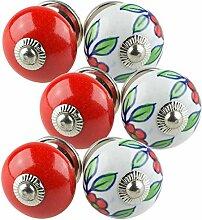 Möbelknopf Möbelknauf Möbelgriff Set Nr.0207 6er bunt schwarz weiß rosa grau rot blau grün rot gelb Keramik Porzellan handbemalte Vintage Möbelknöpfe für Schrank, Schublade, Kommode, Tür - Jay Knopf