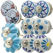 Möbelknopf Möbelknauf Möbelgriff Set Nr.098 10er bunt blau 10005 Keramik Porzellan handbemalte Vintage Möbelknöpfe für Schrank, Schublade, Kommode, Tür - Jay Knopf