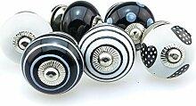 Möbelknopf Möbelknauf Möbelgriff Set Nr.30 6er 389 schwarz Keramik Porzellan handbemalte Vintage Möbelknöpfe für Schrank, Schublade, Kommode, Tür - Jay Knopf