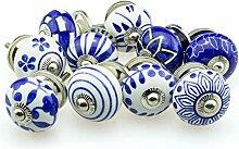 Möbelknopf Möbelknauf Möbelgriff Set Nr.38 10er 773 blau Keramik Porzellan handbemalte Vintage Möbelknöpfe für Schrank, Schublade, Kommode, Tür - Jay Knopf