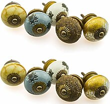 Möbelknopf Möbelknauf Möbelgriff Set Nr.39 10er 771 natur Keramik Porzellan handbemalte Vintage Möbelknöpfe für Schrank, Schublade, Kommode, Tür - Jay Knopf