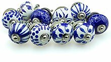 Möbelknopf Möbelknauf Möbelgriff Set Nr.44 10er 778 blau Keramik Porzellan handbemalte Vintage Möbelknöpfe für Schrank, Schublade, Kommode, Tür - Jay Knopf