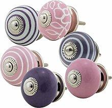 Möbelknopf Möbelknauf Möbelgriff Set Nr.48 6er rosa lila Keramik Porzellan handbemalte bunte Vintage Möbelknöpfe für Schrank, Schublade, Kommode, Tür - Jay Knopf