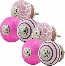 Möbelknopf Möbelknauf Möbelgriff Set Nr.50 6er weiß pink Keramik Porzellan handbemalte bunte Vintage Möbelknöpfe für Schrank, Schublade, Kommode, Tür - Jay Knopf
