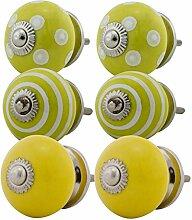 Möbelknopf Möbelknauf Möbelgriff Set Nr.55 6er gelb Keramik Porzellan handbemalte bunte Vintage Möbelknöpfe für Schrank, Schublade, Kommode, Tür - Jay Knopf