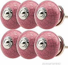 Möbelknopf Möbelknauf Möbelgriff Set Nr.63 6er pink Keramik Porzellan handbemalte Vintage Möbelknöpfe für Schrank, Schublade, Kommode, Tür - Jay Knopf