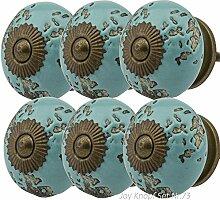 Möbelknopf Möbelknauf Möbelgriff Set Nr.73 6er tuerkis grün Keramik Porzellan handbemalte Vintage Möbelknöpfe für Schrank, Schublade, Kommode, Tür - Jay Knopf