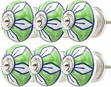 Möbelknopf Möbelknauf Möbelgriff Set Nr.84 6er grün Keramik Porzellan handbemalte bunte Vintage Möbelknöpfe für Schrank, Schublade, Kommode, Tür - Jay Knopf