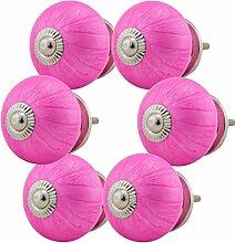 Möbelknopf Möbelknauf Möbelgriff Set Nr.86 6er pink Keramik Porzellan handbemalte bunte Vintage Möbelknöpfe für Schrank, Schublade, Kommode, Tür - Jay Knopf