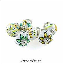Möbelknopf Möbelknauf Möbelgriff Set Nr.90 6er bunt braun Keramik Porzellan handbemalte Vintage Möbelknöpfe für Schrank, Schublade, Kommode, Tür - Jay Knopf