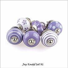 Möbelknopf Möbelknauf Möbelgriff Set Nr.91 6er lila flieder Keramik Porzellan handbemalte Vintage Möbelknöpfe für Schrank, Schublade, Kommode, Tür - Jay Knopf
