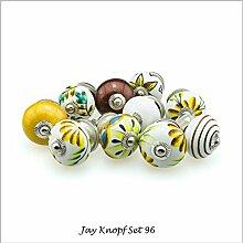 Möbelknopf Möbelknauf Möbelgriff Set Nr.96 10er bunt braun Keramik Porzellan handbemalte Vintage Möbelknöpfe für Schrank, Schublade, Kommode, Tür - Jay Knopf