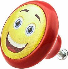 Möbelknopf Möbelknauf Möbelgriff Smiley 05897R verschiedene Farben Muster und Designs für Kinder Kinderzimmer Kindermöbel