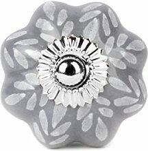Möbelknopf Möbelknauf Möbelgriff - sternförmig grau Blätter, Tupfen weiß