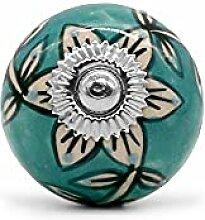 Möbelknopf Orient Blüte Stern türkis