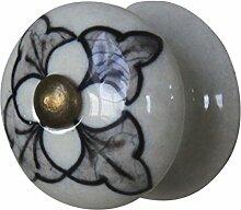 Möbelknopf Porzellan rund scharze Bemalung Möbelgriff Möbelzubehör Keramik Griff Schubladengriff