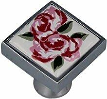 Möbelknopf Schrankknopf Möbelgriff Porzellan mit Rose mit Chrom Fassung