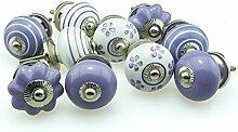 Möbelknopf Set 10er_10-780 lila, violet Jay Knopf ® Möbelknauf Set Möbelknöpfe Set, Möbelgriff Set, Shabby Chic Vintage Retro Keramik Porzellan