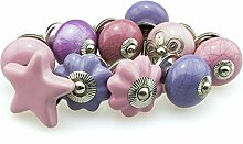 Möbelknopf Set 10er_10-797 rosa lila Jay Knopf ® Möbelknauf Set Möbelknöpfe Set, Möbelgriff Set, Shabby Chic Vintage Retro Keramik Porzellan