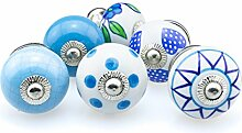 Möbelknopf Set 6er_6-383 blau Jay Knopf ® Möbelknauf Set Möbelknöpfe Set, Möbelgriff Set, Shabby Chic Vintage Retro Keramik Porzellan