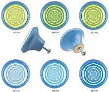Möbelknopf Set 6er IMB0008B Blau Kreis Spirale -