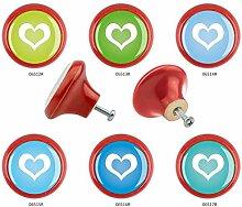 Möbelknopf Set 6er IMB0031R Rot Herz - Designer