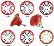 Möbelknopf Set 6er IMB0061R Rot Wirbel - Designer