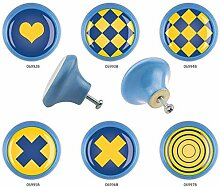 Möbelknopf Set 6er IMB0111B Blau Gelb Blau Muster