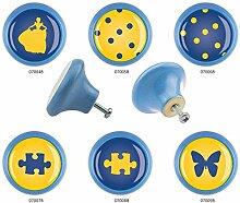 Möbelknopf Set 6er IMB0113B Blau Gelb Blau Muster