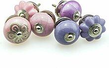 Möbelknopf Set 6er Set 6er_6-370 lila, rosa Jay Knopf ® Möbelknauf Set Möbelknöpfe Set, Möbelgriff Set, Shabby Chic Vintage Retro Keramik Porzellan