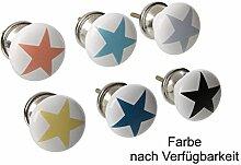 Möbelknopf Stern aus Porzellan (1 Stück)