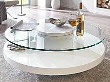 Moebella Couchtisch Glas rund weiß Hochglanz